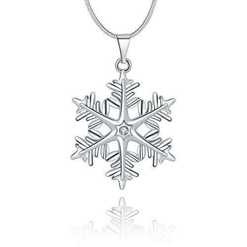Yunchuang Sterling Silver Plated Snowflake Pendant Necklace for Women Teen Girls Jewelry Vacuum Parts Accessories Upright Filters