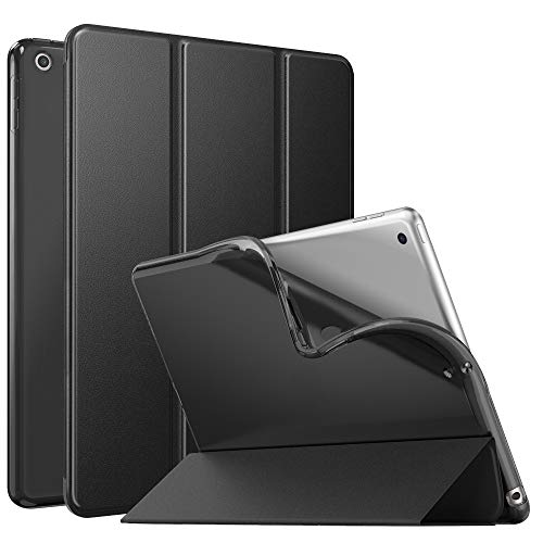 MoKo Case Fit New iPad 8th Generation 10.2' 2020 / iPad 7th Gen 2019, iPad 10.2 Case with Stand, Soft TPU Translucent Frosted Back Cover Slim Shell for iPad 10.2 inch, Auto Wake/Sleep,Black
