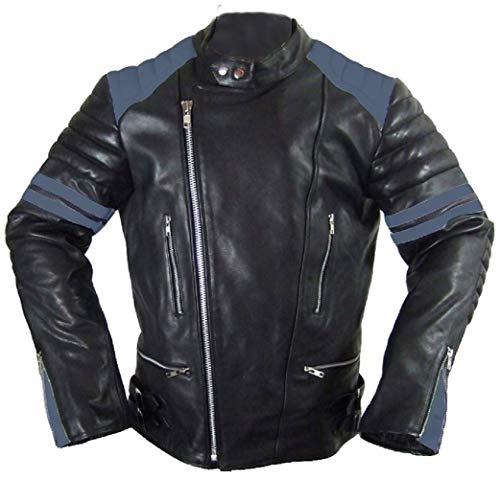 Hard Leather Oldschool Retro Lederjacke, Farbe: Schwarz/Blau, Größe: XL