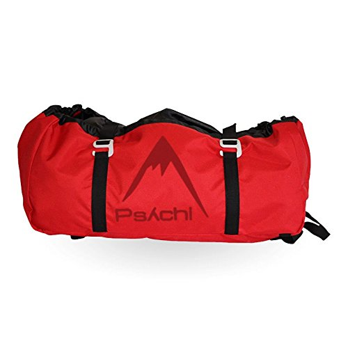 Psychi Rock Climbing Rope Bag with Ground Sheet Buckles and Carry Straps (Red)