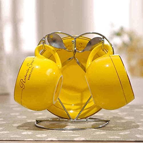 Conjunto de 2 huesos China taza de té/tazas de café y platillos conjuntos con cucharas-6.7oz, para hogar, restaurantes, visualización para familias o amigos amaril yellow-2 piece set