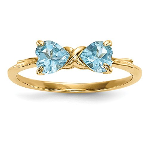 14k Yellow Gold Swiss Blue Topaz Bow Band Ring Size 7.00 Birthstone December Fine Jewelry For Women Gifts For Her