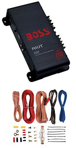 BOSS R1002 200W 2-Channel Car Audio Amplifier Amp + 8 Gauge Install Amp Kit+RCA