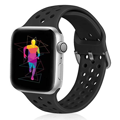 Runostrich Sport Band Compatible with Apple Watch Band 44mm 42mm, Soft Silicone Replacement Breathable Strap Compatible iWatch SE Series 6 5 4 3 2 1 for Women Men (Black, 42mm/44mm)