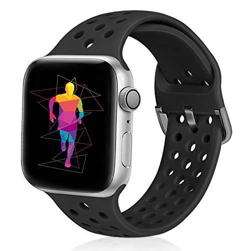 Runostrich - Cinturino di ricambio compatibile con Apple Watch 38 mm, 42 mm, 40 mm, 44 mm, in morbido silicone, sportivo, traspirante, compatibile con iWatch Serie 4, 3, 2, 1, unisex