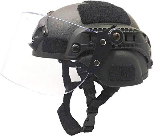 N / A Airsoft Tactical Schutzhelm, Mich 2000 Action Version Taktischer Helm mit NVG-Halterung und vandalensicherer Visiermaske für Airsoft Paintball CS-Spiele im Freien