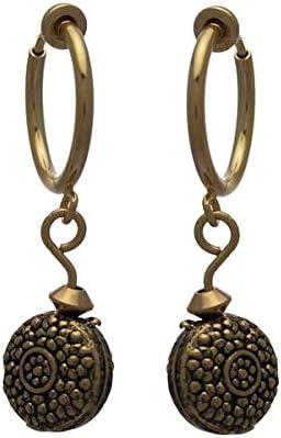 Cerceau 15mm Gold Plated Medallion Drop Clip On Earrings
