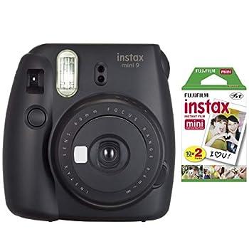 Fujifilm instax Mini Instant Camera  Dark Black  with Film Twin Pack Bundle  2 Items