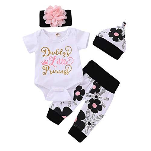 FYMNSI Conjunto de ropa para bebé recién nacido y niña, de manga larga, pelele con flores, pantalones con cinta y sombrero, regalo de cumpleaños, 4 unidades #A: Blanco + Negro Manga Corta 6-12 Meses