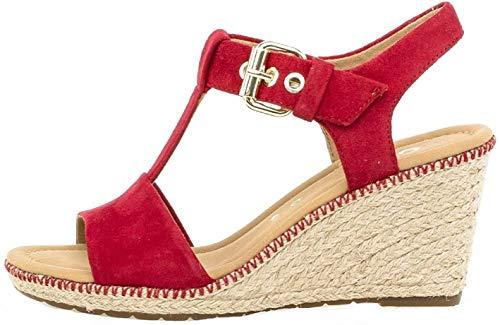 Gabor 22.824 Damen Sandalen,Keilsandalen, Frauen,Keilabsatz-Sandaletten,Keilsandaletten,Sommerschuh,flach,Comfort-Mehrweite,Rubin (Jute/Naht),6 UK