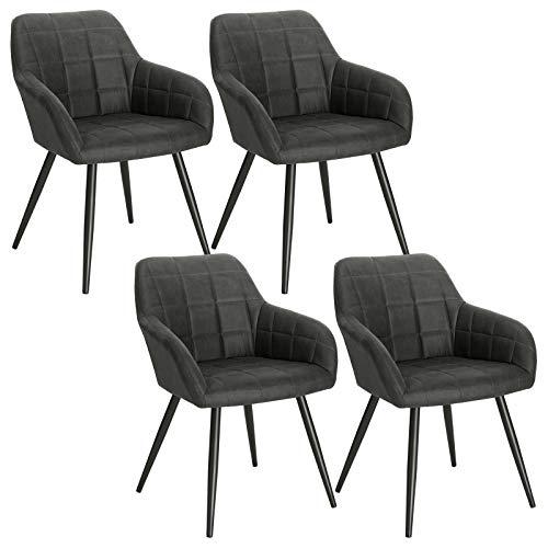 WOLTU 4 x Esszimmerstühle 4er Set Esszimmerstuhl Küchenstuhl Polsterstuhl Design Stuhl mit Armlehne, mit Sitzfläche aus Stoffbezug, Gestell aus Metall, Dunkelgrau, BH224dgr-4