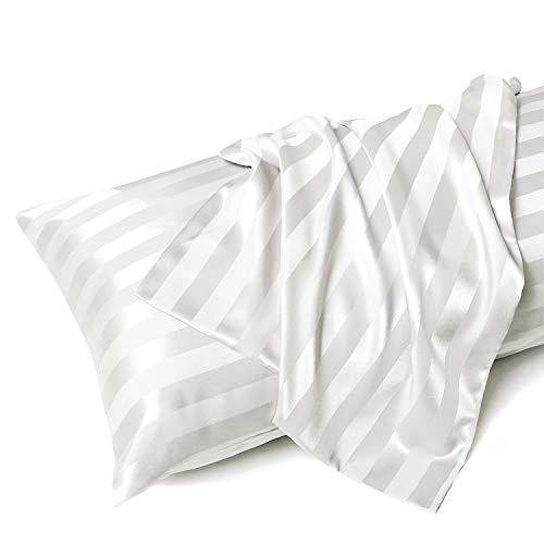 MR&HM Satin Body Pillow Pillowcase, 20x54 inches Body Pillow Cover with Envelope Closure, Silky Slip Cooling Pillow Cases for Hair and Skin (20x54, Ivory Striped)