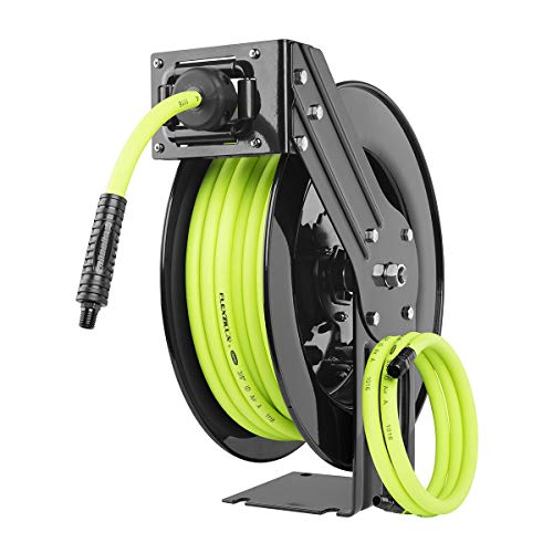 Flexzilla Open Face Retractable Air Hose Reel, 3/8 in. x 50 ft, Heavy Duty, Lightweight, Hybrid, ZillaGreen - L8611FZ