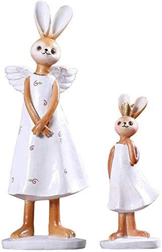 aipipl Escultura de Busto, Accesorios Europeos para el hogar, Figuras de Conejo, 2 Piezas/Juego, Escultura de Resina de Conejito para decoracin