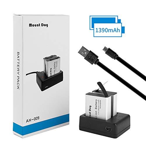 MOUNTDOG Action Camera Battery 2 x 1390mAh Rechargeable Action Camera Batteries with USB Dual Charger for AKASO/Apeman/SJCAM/Campark 4k/CAMKONG/VicTsing/Victure/Vemont