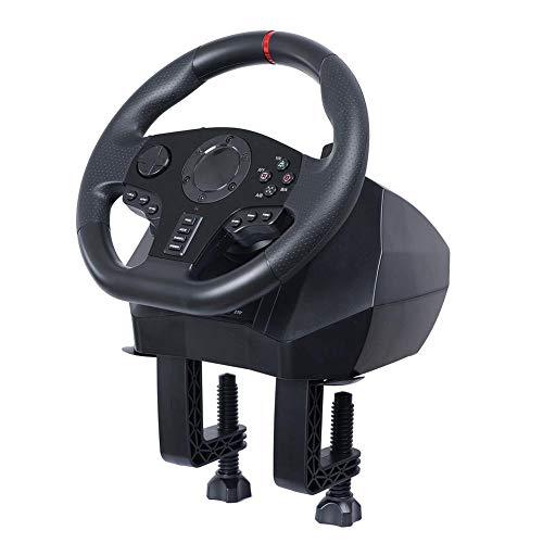 Greatideal Volant De Jeu, Volant De Jeux De Course, Volant De Jeux Réglable V900 avec Pédale Réglable/Prise Audio, Vibration Feedback, pour Nintendo Switch PC / PS3 / 4 / Xbox One