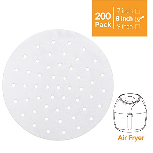 "Air Fryer Liners - 200 Pcs, 7"" 8"" 9"" Perforated Parchment Non-Stick Air Fryer Liners/Bamboo Steaming Paper/Perforated Parchment Paper Sheets (Round-White)"