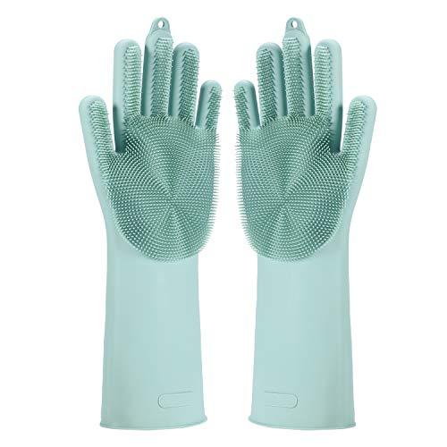 Magic Saksak Silicone Gloves Dishwashing Cleaning Brush Scrubber, Reusable Brush Silicone Scrubber Heat Resistant Gloves for Cleaning, Household, Dish Washing, Washing Car, Pet Hair Care (Light Blue)