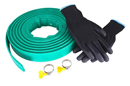 swoote 20m x 25mm Diameter Layflat PVC Discharge Hose Pipe Green with 2 Clips and Nitrile Gardening Gloves - Compatible with Submersible Water Pump for Draining Pond, Hot Tub, Swimming Pool or Sump