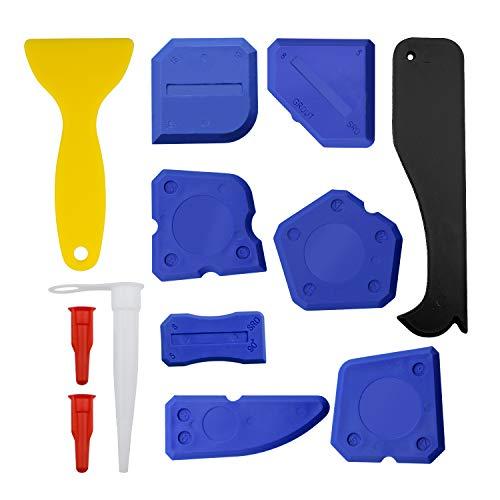 Kit di Spatole Calafataggio in Silicone da 12 pezzi - Spatole di Sigillante Multi-angolo, Raschietto, Solvente, uUgello Sigillante e Tappi - Blu