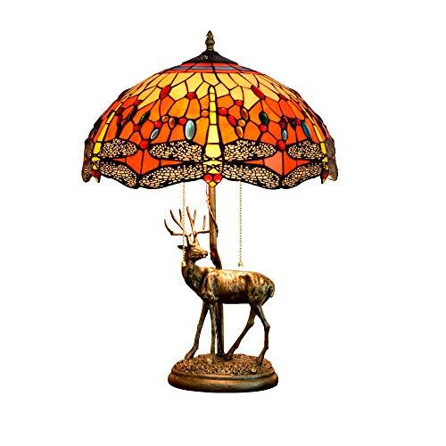 Tiffany de 16 pulgadas Lámpara de mesa de vidrieras Lámpara de aleación Elk Base Roja Restaurante Sala de estar Dormitorio dormitorio.