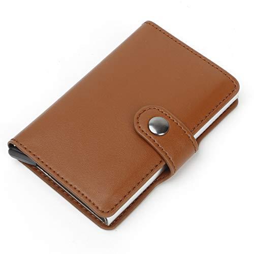 VIDOO Tragbare Anti-Degasing Visitenkarte Halter Einfache Brieftasche Leder Name Karte Fall Id Kreditkarte Aufbewahrungsbox- Braun