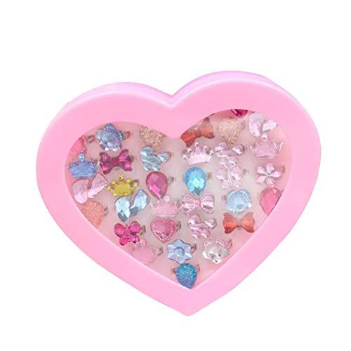 Toyvian 36pcs Kinder Ringe Schmuck Spielzeug Set Kristall Fingerringe Kindergeburtstag Geschenke Schmuck