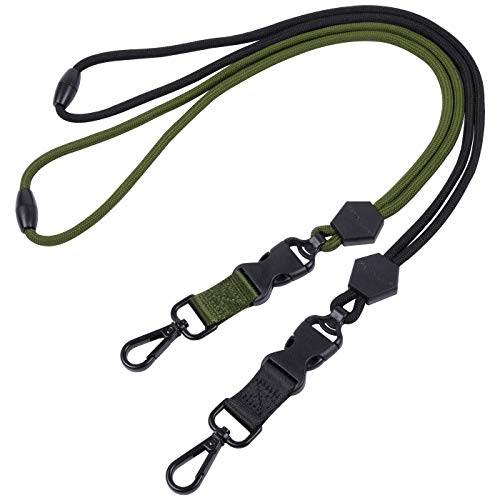 Wisdompro 2 Pack of 23 inch Durable Round Cord Heavy Duty Lanyard with Safety Breakaway Buckle, Detachable Buckle and Metal Hook for ID Card Badge Holder and Keys - Black and Army Green