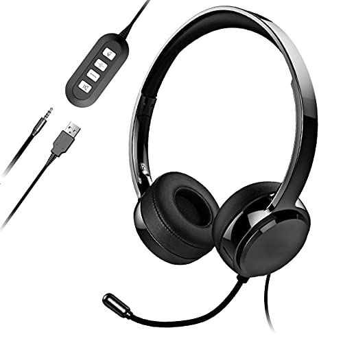 USB Headset with Microphone, 3.5mm Computer Headset with Mute, Lightweight...