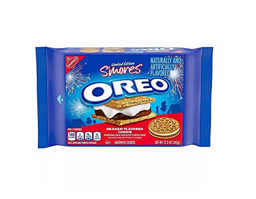 Oreo S'mores Marshmallow & Chocolate Flavor Creme Graham Sandwich Cookies, Limited Edition, 12.2 Oz