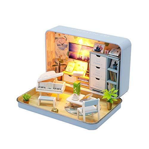 DIY Dollhouse Box Theatre Assemble - Casa de muñecas de madera, minikit de decoración para el hogar y los niños (casa de piano)