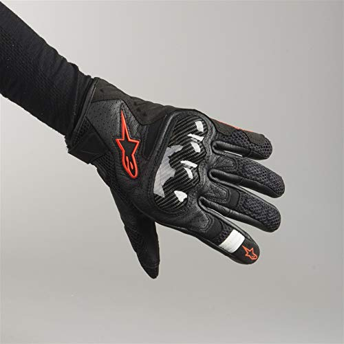 Black/Red Sz M Alpinestars SMX-1 Air V2 Vented Leather Motorcycle Glove