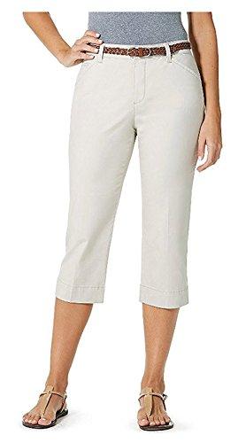 Bandolino Womens Maureen Capri Pants with Comfort Waist & Braided Belt (18, creamstone)