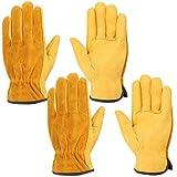 Guantes de trabajo de cuero, Wisolt 2 pares espina prueba y guantes resistentes impermeables para la construcción, jardinería, patio, reparación de automóviles, disponible para hombres y mujeres L