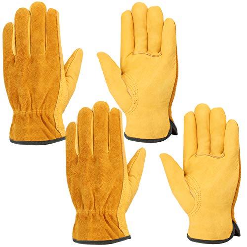 Leder Arbeitshandschuhe, Wisolt 2 Paar Thorn Proof und wasserdicht Heavy Duty Handschuhe für den Bau, Garten, Hof, Auto-Reparatur, für Männer und Frauen L
