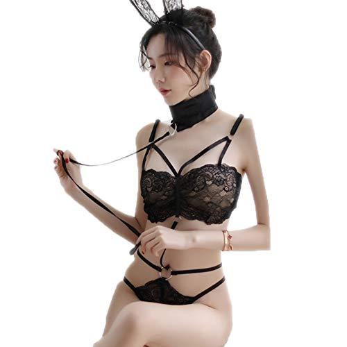 Yiyu Erotische Nachtwäsche Erotische Dessous-Sets Sexy Dreiteilige Spieluniform Sexy Kleid Der Sexy Dessous-Katze des Hasenmädchens Der Frauen x (Color : Black)