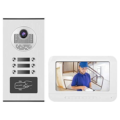 Timbre de Videoportero de 7 Pulgadas, con Monitor LCD Digital HD, Cámara de Teléfono para Varios Apartamentos/Familias (Color : White, Size : 195x132x20mm)