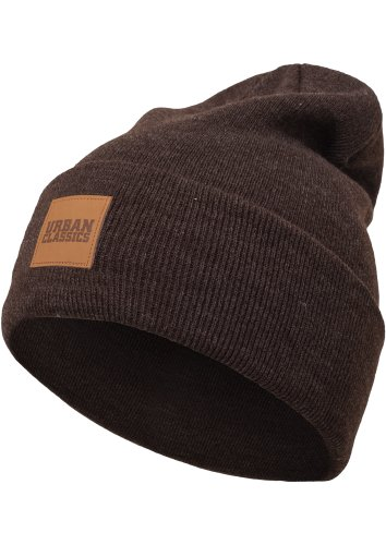 Urban Classics Leatherpatch Long Beanie Bonnet, Braun (heatherbrown 461), Taille Unique Mixte