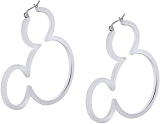 Mickey Mouse Outline Hoop Earrings In 14k Gold Over Sterling Silver