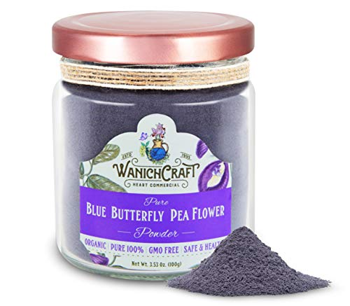 WanichCraft Organic Thailand Pure Dried Blue Butterfly Pea Flowers Powder Blue Matcha Natural Food Coloring GMO Free Gluten Free No Artificial Dyes Plant-Based Colors Premium Glass Jar 3.53 Oz. (Powder 100g Jar)