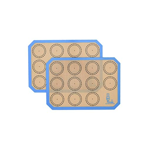 """Non Stick Silicone Baking Mats Set Quarter Sheet Macaron - 2 Small Toaster Oven Silicon Baking Liners For Cookies and Bread Making,8.2""""x11.6"""" ,By Folksy Super Kitchen (Blue)"""