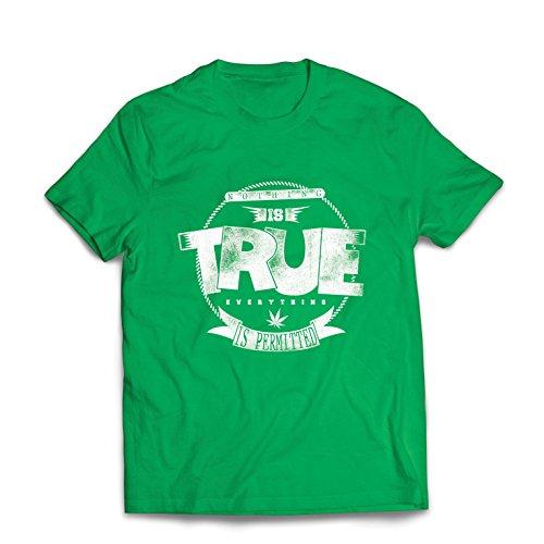 lepni.me Camisetas Hombre Nada es Cierto, Todo está Permitido - Hipster Swag, Moda callejera, fumando Marihuana (Large Verde Multicolor)