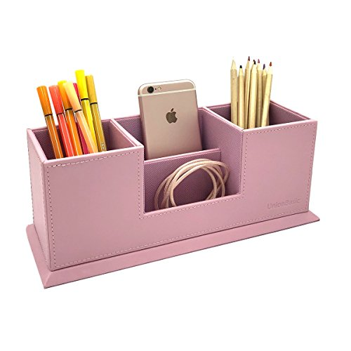 UnionBasic - Organizador de escritorio con 4 compartimentos, soporte para bolígrafo doble, tarjetero, bolígrafo, lápiz y teléfono móvil, soporte para suministros de oficina, color rosa