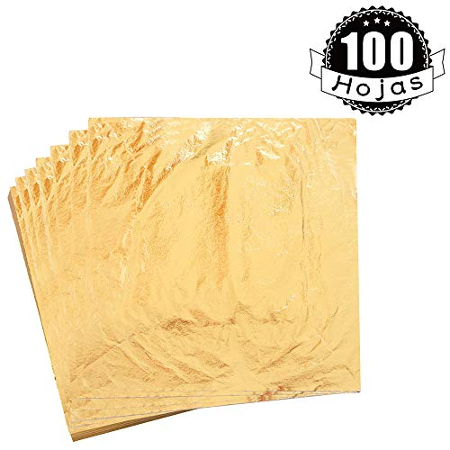 KINNO Pan de Oro Imitación Lámina de Cobre para Artes Manualidades Decoración de Muebles 14x14cm/5.5