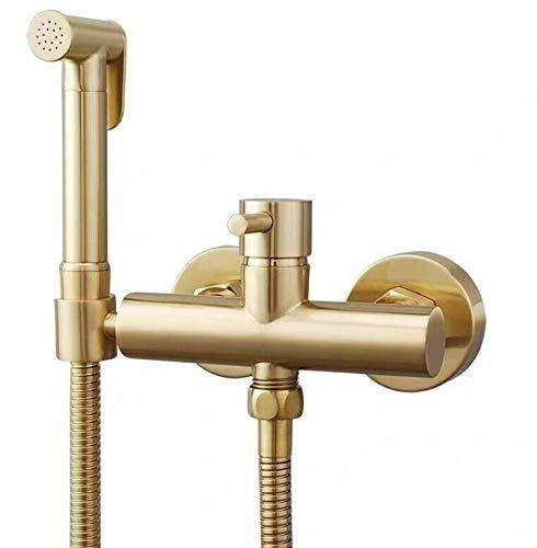Brushed Gold Bidet Spray - Homebester Bidet sprayer for toilet hot and cold water handheld toilet bidet sprayerToilet Sprayer With 8.5cm Brass Mixing Valve