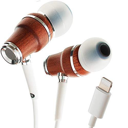 Symphonized NRG MFI Oordopjes, Gecertificeerde Lightning Oordopjes voor iPhone/iPad/iPod, Premium Echte Bubinga Houten In-ear Geluidsisolerende koptelefoon, Stereo Koptelefoon met Draad (Wit)
