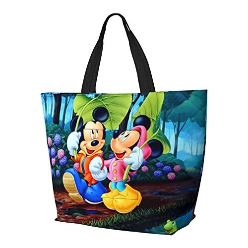 Mickey Mouse Bolso de mano con asa de hombro, estilo simplicidad, gran capacidad, bolsa de compras, gimnasio, playa, viajes, diario, unisex, plegable