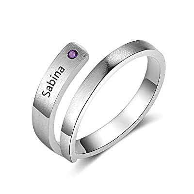 Kalulu Personalized Rings for Women Silver Color Size 8 Thick Ring for Women with Birthstone Charms 1-5 Names Engraved Custom Wedding Rings