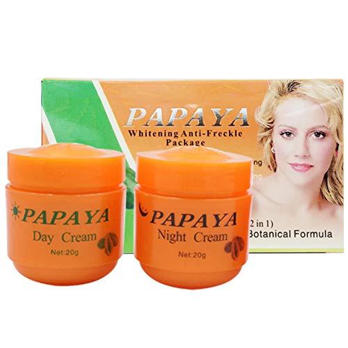 2 unidades de crema de blanqueo de papaya definida hidratante, diluyente manchas de rozador aclarante pigmentario para rostro blanqueante.
