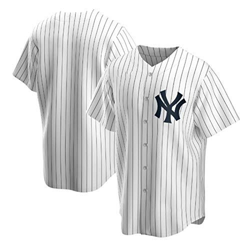 New York Baseball Shirt, Herren Druck Baseball Trikot, Kurzarm Game Team Uniform Button Top (M-XXXL)-White-M
